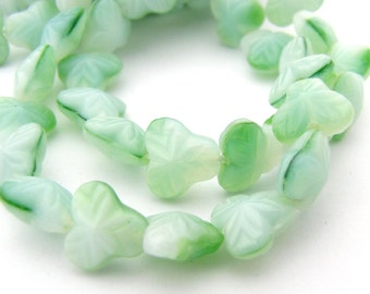 Spearmint Green - White 9mm Berry Tri-Leaf Czech Glass Beads 25pc #2957