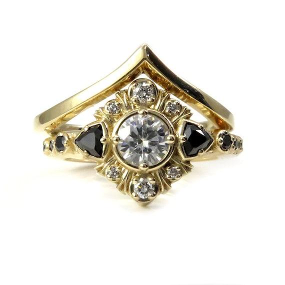 Art Deco Engagement Ring Set with Moissanite, Black Diamond Trillions and Diamonds - Boho Wedding Ring Set