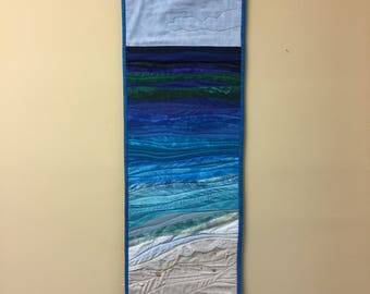 Caribbean waters wallhanging. Art quilt. Fiber arts. One of a kind.