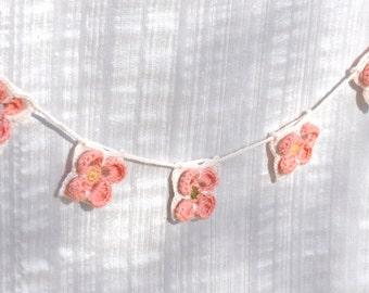 Handmade Crocheted Garland in Pink