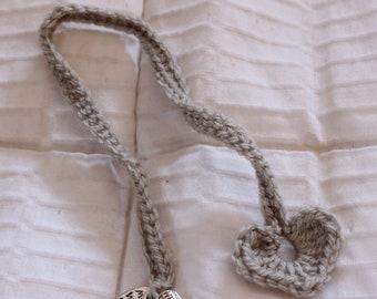 Crocheted Heart Bookmark