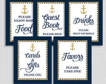 Nautical Baby Shower Signs, Anchor Navy & Gold Glitter Shower Signs Package, 5 Sign Bundle, INSTANT PRINTABLE