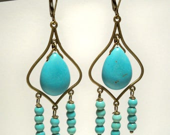 Turquoise Briolette Chandelier Earrings in Antique Brass