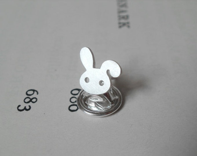Bunny Rabbit Pin/ Lapel Pin/ Tie Tack In Sterling Silver, Handmade In England