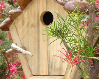 Shelter, chickadees or birds nest size pallet wood and bark, perch, recycling