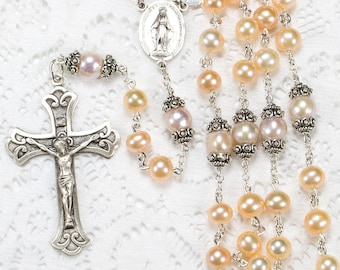 Creamy Peach Freshwater Pearl Rosary - Handmade Gift for Catholic Women with Fresh Water Pearls, Bali Sterling Silver, Miraculous Medal