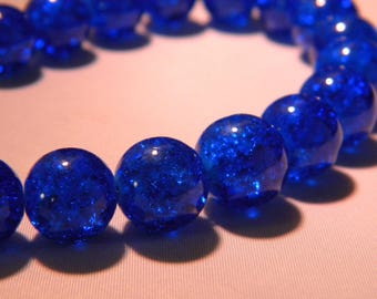 10 blue glass beads Crackle 12mm translucent - royal PE262 6