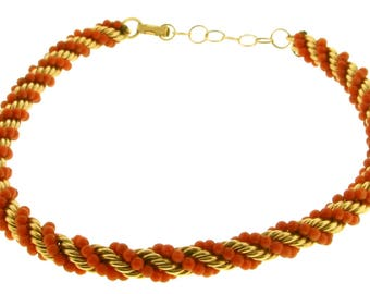 Beautiful 14k yellow gold and coral necklace