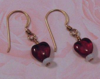 Garnet Red and Opalite Heart Earrings on Gold Filled Ear wires, Petite Earrings, Heart Jewelry, Red Heart Earrings, Gift for Her