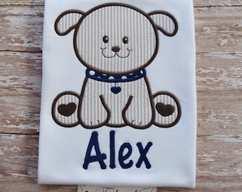 Personalized Puppy Shirt with Applique Puppy and Name - Boys Puppy Shirt - Monogrammed Boys Shirt - Boys Birthday Shirt - Boys Dog Shirt