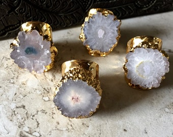 Druzy Ring Adjustable,Raw Stone Ring,Druzy Cigar Ring,Solar Quartz Ring,Gold Quartz Ring,Cigar Ring,Boho Adjustable Druzy Ring,Solar Quartz