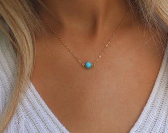 Turquoise Bead Necklace / Simple Turquoise Necklace / Dainty Turquoise Layering Necklace / Genuine Kingman Turquoise Stone on Gold Chain