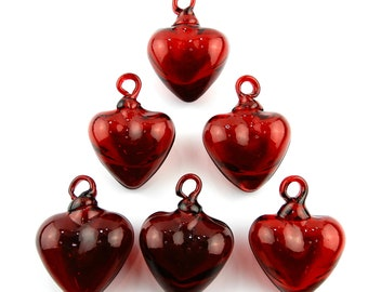 Hand Blown Red  Heart Mexican Fiesta decoration Mini Hearts 6 red hearts