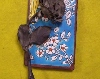 Antique Embossed Ceramic Tile Paperweight with Metal Black Rose