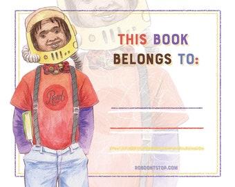 Bookplate | Black Boy | Astronaut