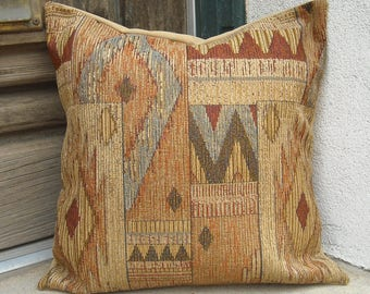 Southwestern Pillow Cover 16 x 16 to 24 x 24. Sturdy soft upholstery fabric. Traditional blanket designs