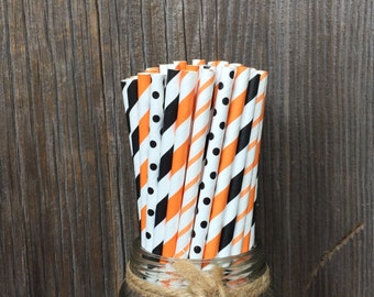 100  Orange and Black Striped and Polka Dot Paper Straws- Basketball, Birthday, Team Party, March Madness, Free Shipping!