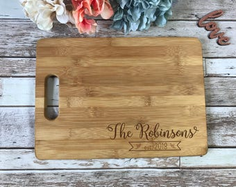 Wedding Cutting Board, Personalized Cutting Board, Engraved Cutting Board, Banner cutting board, Wedding Gift, Couple's