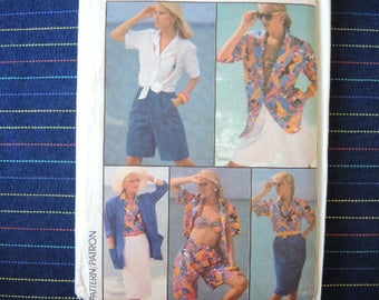 vintage 1980s simplicity sewing pattern 7491 UNCUT misses skirt shorts bra top shirt and unlined jacket size 6 and 8