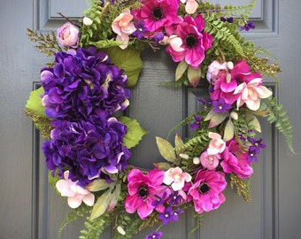 Spring Wreaths, Spring Hydrangeas, Purple Wreaths, Purple Hydrangeas, Spring Door Wreaths, Spring Decor, Gift for Her, Mother's Day Gift