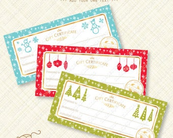Christmas Gift Certificate Printable, editable text pdf, holiday pattern, with gold foil effects, instant download, digital diy