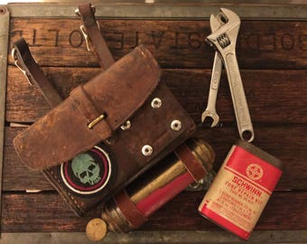 Vintage Leather War Boy Belt/Sling Pouch With Antique Mini Fire Extinguisher