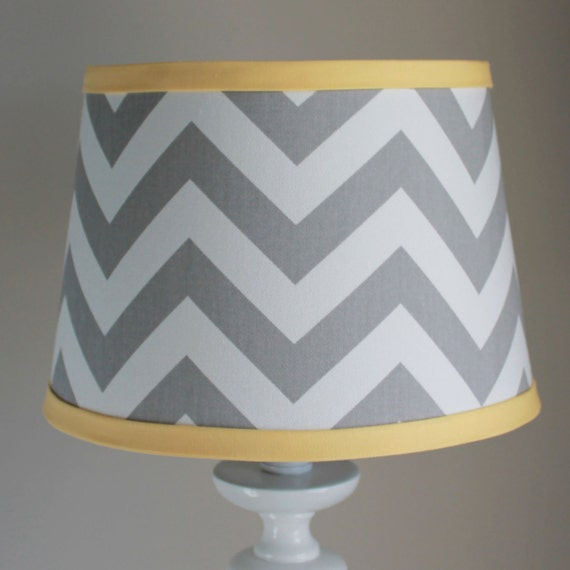 Small white gray chevron lamp shade with accent yellow aloadofball Gallery