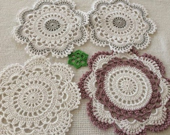 Mercerized cotton crochet doily