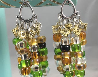 Earrings. Fun green, abmer and clear beaded dangles (A50)