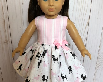 American Girl Doll Dress: Pink and Black French Poodles, American Girl Grace, 18 inch Doll Clothes
