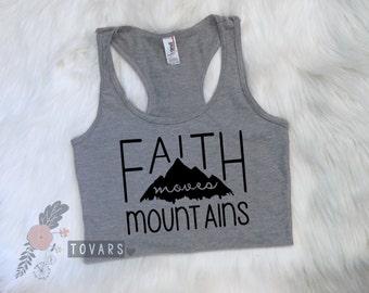 Faith Moves Mountains Women's Tank Top, Christian Women's Racerback Tank top, women's tank top, women tank top, racerback tank, workout tank