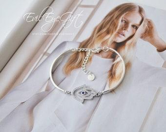 Dainty Crystal Hamsa Evil Eye 925 Sterling Silver Open Bangle Cuff Bracelet - Hamsa Jewelry - Hamsa Jewellery