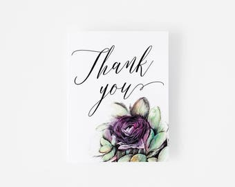 Thank You Card Set -  Watercolor and Ink Rose Painting -  Purple Rose - Notecard Set - Gray Envelope - Thank You Notes - Wedding Thank You