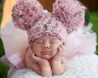 Pink Baby Hat Newborn Baby Girl Hat Newborn Baby Hat Pink and Brown Baby Hat Pom Pom Mouse Ear Animal Ear Hat Newborn Photo Prop Photography