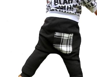 Baby Harem Pants | Grow With Me Pants | Baby Harems | Baby Joggers | Toddler Harem Pants | Toddler Joggers, Black Plaid Baby Pants