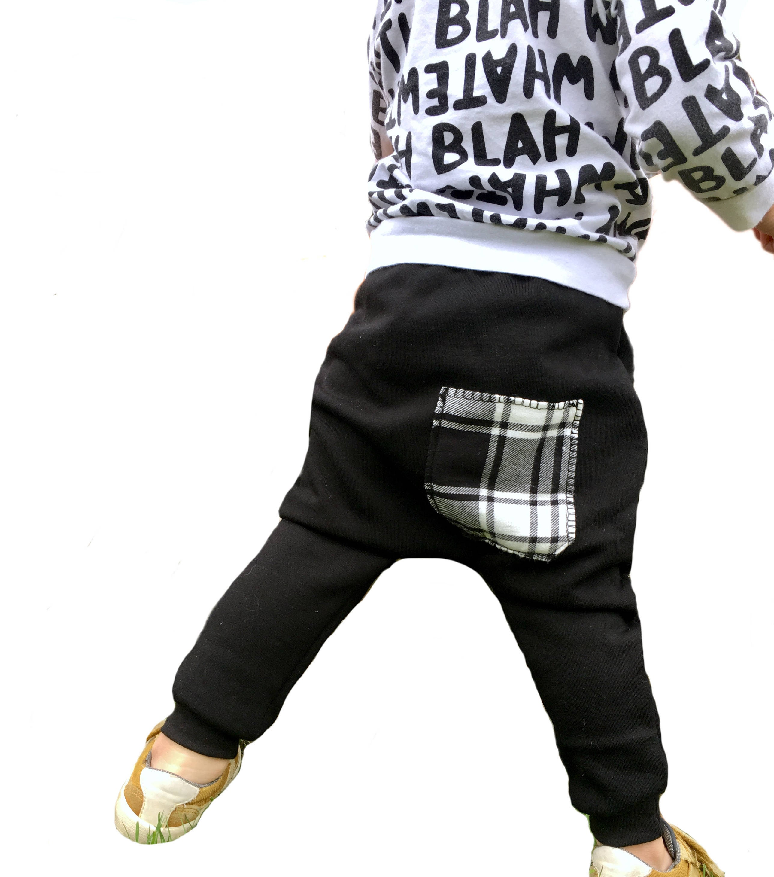 Black Plaid Pocket Baby Toddler Joggers
