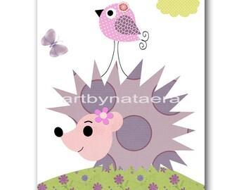 Children Room Decor Baby Nursery Decor Baby Decor Children Decor Kids Room Decor Print Hedgehog Bird Pink Purple Baby Shower Girft