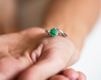Raw Emerald Ring, Rough Emerald Ring, 2.00+ Carat Uncut Emerald Ring, Anniversary Ring, Engagement Ring, White Gold Ring