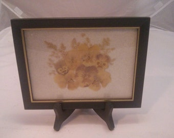 Vintage Home Decor - Dry Pansies inside a black Frame with wood stand