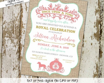 once upon a time storybook couples baby shower invitation mint coral burlap princess happily ever after royal brunch gay | 1330 Katiedid