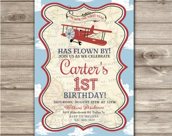 Airplane thank you cards baby shower invitations rustic red airplane birthday printable invitations rustic boy theme party red map vintage red airplane clouds nv2126 filmwisefo