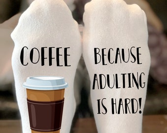 Coffee because adulting is hard Socks | If you can read this socks | Coffee Socks | Coffee lover gift | Socks | Funny Socks|Stocking Stuffer