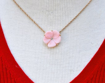 Avon Pink Lucite Flower Necklace Vintage