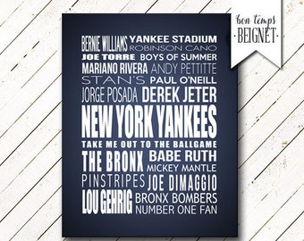 "New York Yankees - 16x20""  Printable Poster - Downloadable File INSTANT DOWNLOAD"
