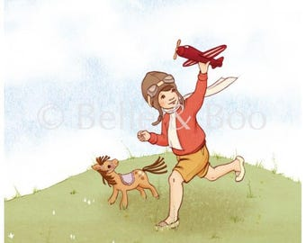 Boy and toy plane art print, The Little Aviator room print