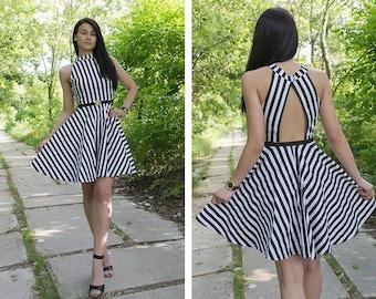 Midi Dress Women / Summer Dress / Striped dress / Circle Dress /  Black and White Dress / Midi Circle Dress/ Cut Out Back Dress / Cute Dress
