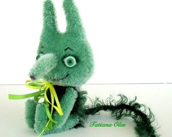 Plush Green Nix  Vodyanoy   Art toy   Soft art doll  8 inches tall (20 cm)