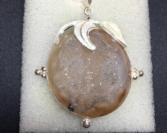 Vintage Druzy Sterling Silver Pendant