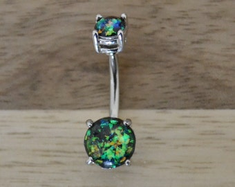 Green Simulated Opal Round Shape Double Prong Set Belly Button Ring Navel Body Piercing Jewelry