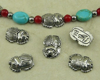5 Egyptian Scarab Beetle Beads > Egypt Mummy Archeology Insect Bug - Raw American made Lead Free Pewter Silver - I ship internationally